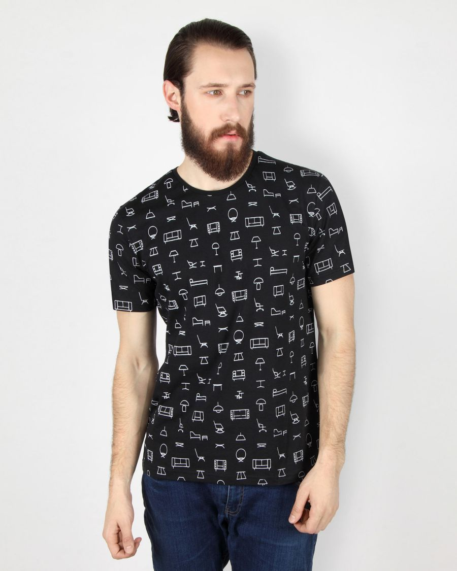 All Over Printed Black T-Shirt