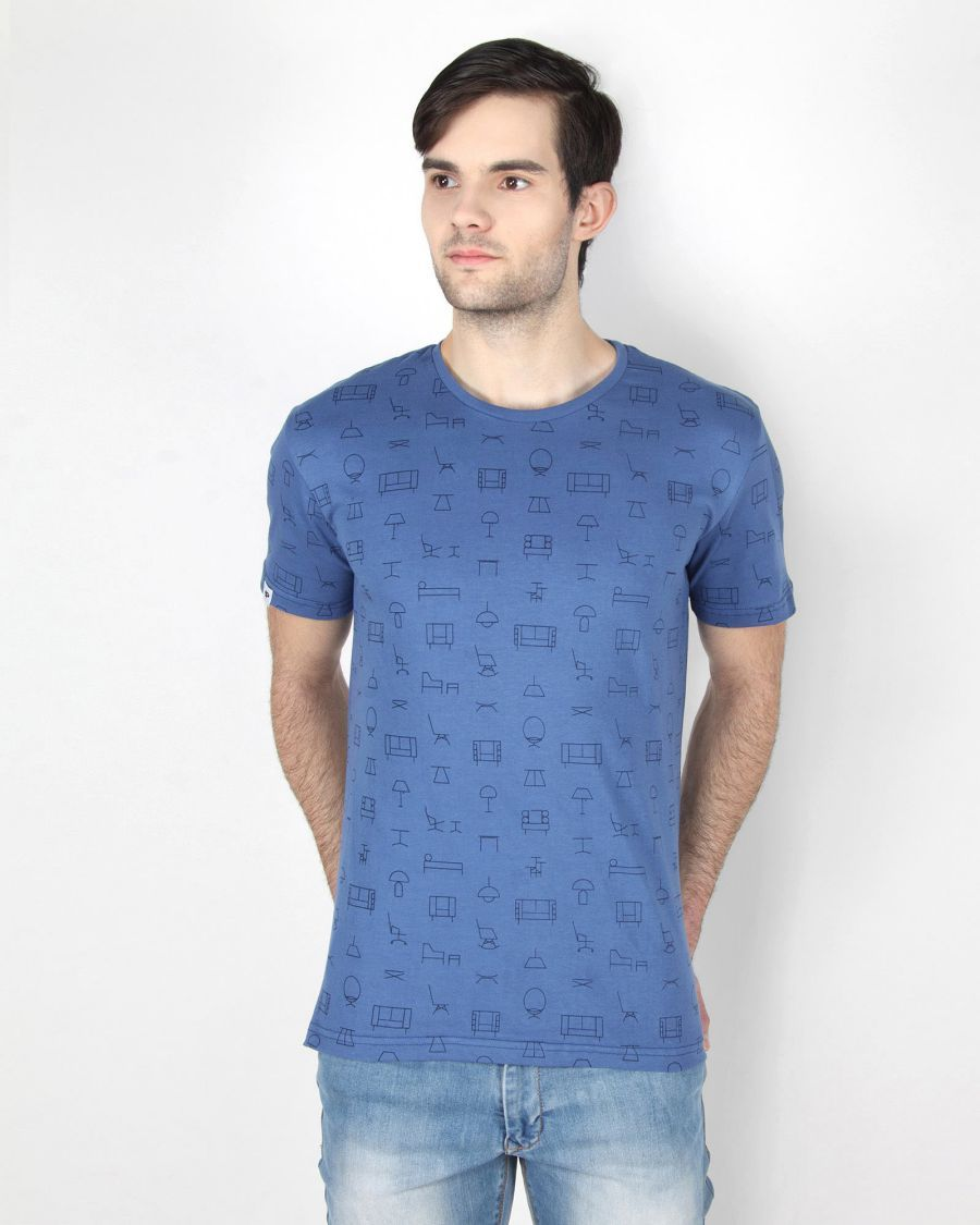 Blue Full Print T-Shirt