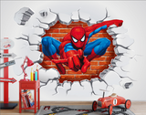 3D Brick Wall Spider Man Background wall Kids three-dimensional