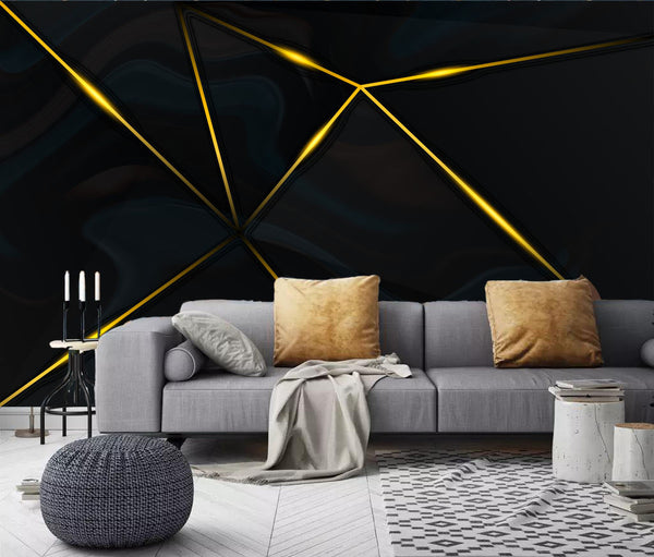 gold line Nordic minimalistic abstract decorative Modern background wallpaper - sbp-art