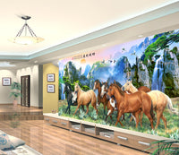 7 horses galloping with mountain and waterfall views Background Wallpaper - sbp-art