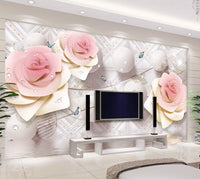 3d three-dimensional rose flower ball continental wedding room TV background wall - sbp-art