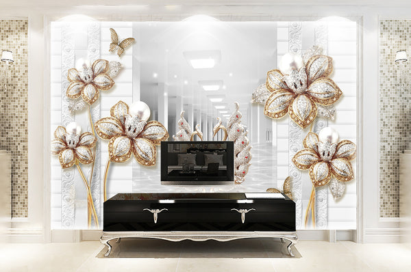 3d diamond high grade flower pearl butterfly three dimensional background wall - sbp-art