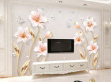 3D three-dimensional Embossed modern minimalist flower open rich modern minimalist background wall decorative - sbp-art