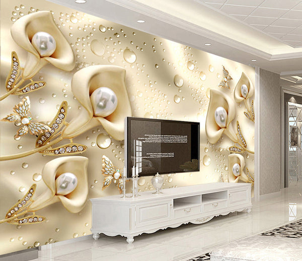 3D three-dimensional luxury golden flower jewelry TV background wall - sbp-art
