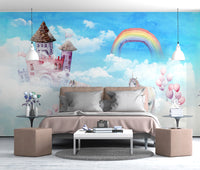 Nordic modern minimalist hand painted sky unicorn children's room wall Kids - sbp-art