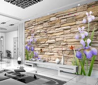 3D brick wall lavender background wall three-dimensional