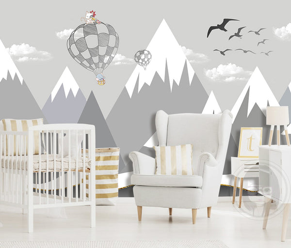 Nordic Minimalist Geometric Children's Room Mural Background Wall Kids - sbp-art