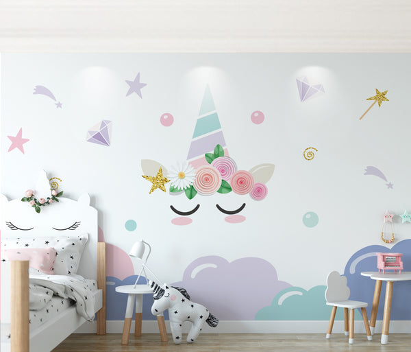 Nordic children's small fresh cloud dreamy unicorn room Background Wall Kids - sbp-art