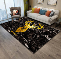 Abstract deer sofa living room bedroom bedside mat Rug slip resistant carpet PVC