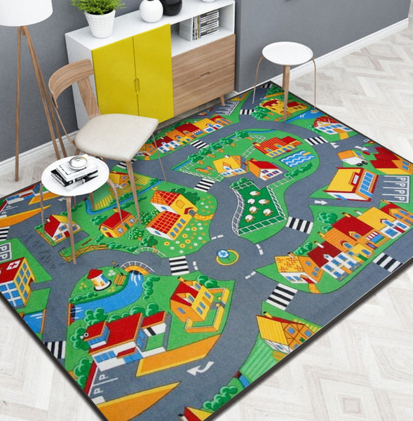 Modern children's room cartoon puzzle road Rug slip resistant carpet PVC
