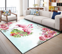 Minimalist hand-painted flamingo flower living room bedroom bedside Rug slip resistant carpet PVC