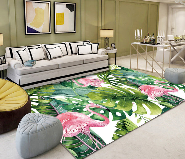 Small fresh banana leaf flamingo living room matt Rug slip resistant carpet PVC