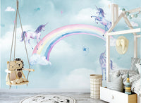 Nordic hand painted unicorn children's room background Wall Kids - sbp-art