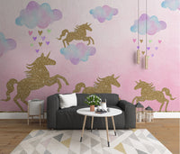 Hand painted cartoon golden pony unicorn children's room background decorative Wall Kids - sbp-art