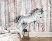 European retro nostalgic hand painted unicorn horse striped mural background Wall Kids - sbp-art