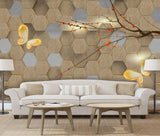 wood grain texture flower tree butterfly 3D background wall painting three dimensional - sbp-art