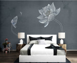 Wallpaper Hand painted lotus flower elegant small modern minimalist background wall - sbp-art