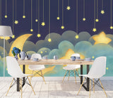 hand painted stars moon cartoon starry children's room background wall Kids