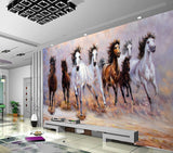 hand painted eight horse running oil painting background wallpaper - sbp-art