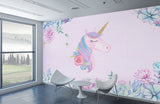 Hand painted dreamy Pink unicorn wall kids - sbp-art