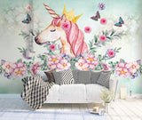 hand painted unicorn flower butterfly children's room background wall kids Nordic - sbp-art