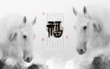 Chinese white horse black and white background wallpaper - sbp-art