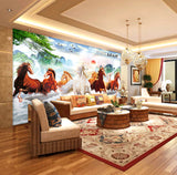 Chinese landscape scenery living room decorative painting Horses background wallpaper - sbp-art