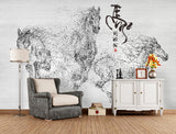 Chinese style hand painted abstract horse decorative background wallpaper - sbp-art