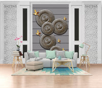 3d white European style carved plaster line disc bird background wall painting - sbp-art
