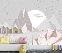 Nordic Modern Minimalist Personality Geometric Children's Room Mountain Mural Background Wall Kids - sbp-art