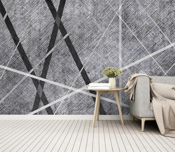 Abstract geometric lines minimalistic modern fabric black and white background wallpaper - sbp-art