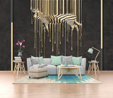 Modern minimalist metal zebra paint metal decorative line wallpaper - sbp-art