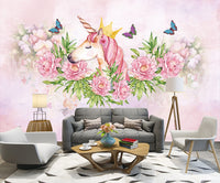 hand painted unicorn flower butterfly Nordic children's room background wall kids - sbp-art