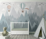 Modern Minimalist Geometric Mountain Hydrogen Balloon Children's Room Background Wall Kids Mural Cartoon - sbp-art