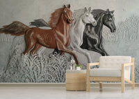 3D embossed horse background wall three dimensional - sbp-art
