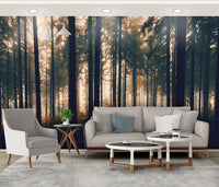 Nature Landscape Hand Painted Forest Nordic Background Wallpaper - sbp-art