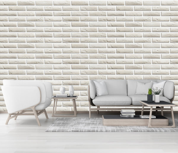 Modern minimalist Nordic rice white brick wall wallpaper background - sbp-art