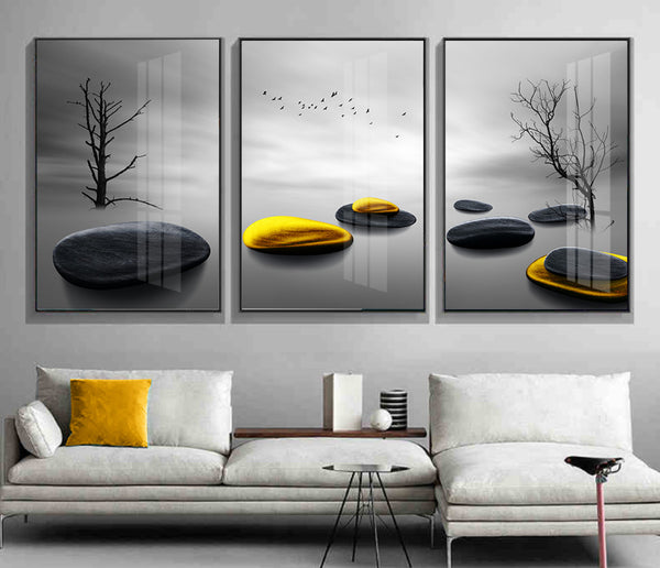 Modern simple stone to run gold stone triple decorative canvas foam board kappa Wall Photos