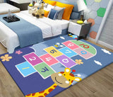 Children's blue cartoon puzzle game slip resistant carpet PVC digital floor mat rug