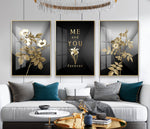 Modern simple abstract gold leaf geometry canvas foam board kappa Wall Photos