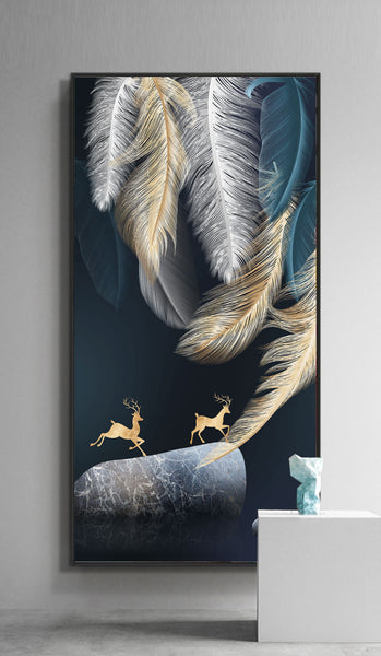 Gold abstract feather light luxury decorative canvas foam board kappa Wall Photos