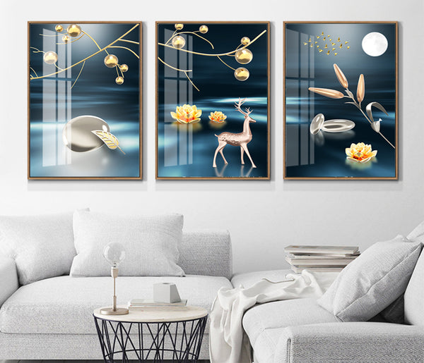 Abstract lines landscape scenery fortune tree light luxury triple decorative canvas foam board kappa Wall Photos
