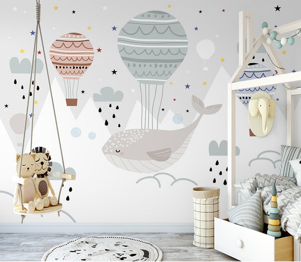 Beautiful hand painted whale balloon Valley children's room background wall Kids
