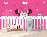 Pink Minnie Mouse Background Wall Kids Girls Room Heart