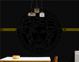 Versace Modern Black and Gold Lines Logo Luxury Background Wallpaper