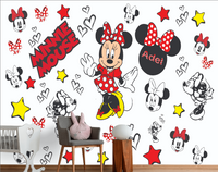 Minnie Mouse Background Wall Kids Girls Room with kids name