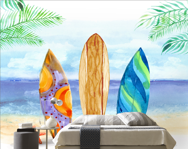 Children's room kids Adult murals  background wall Kids painting Surfing board's