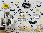 Mickey Mouse Background Wall Kids Black and White Star kids name - sbp-art