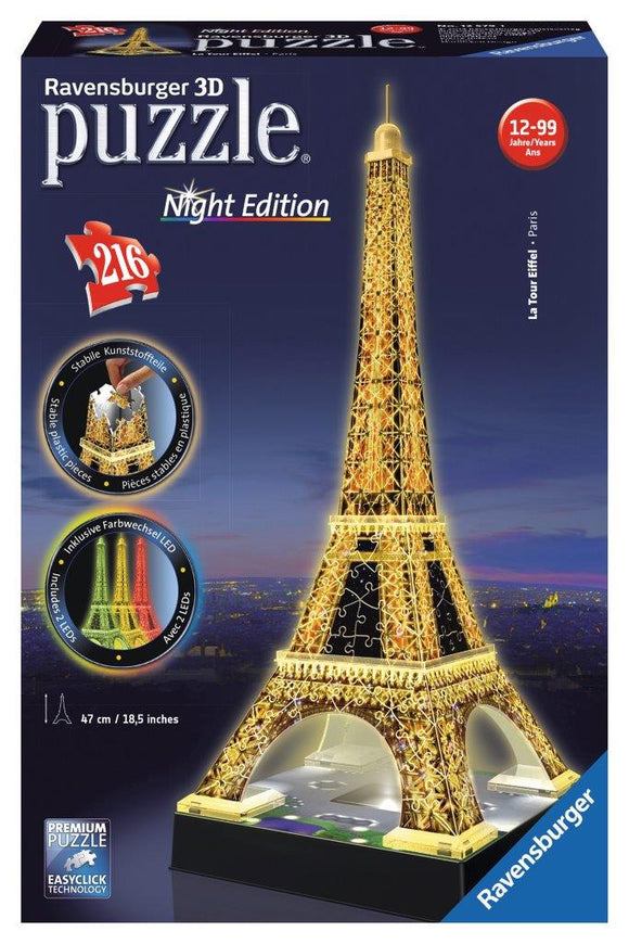 Ravensburger 3D Eiffel Tower Night Edition - 216 pc puzzle-buildings